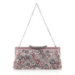 Valentino Frame Rose Chain Clutch Embellished Satin