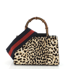 Gucci Nymphaea Top Handle Bag Printed Calf Hair Mini