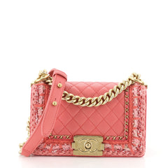 Chanel Jacket Boy Flap Bag Quilted Lambskin with Tweed Small Pink 4597155