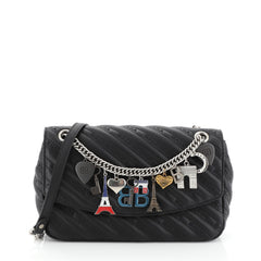 Balenciaga BB Souvenir Chain Round Shoulder Bag Quilted Embroidered Leather Medium