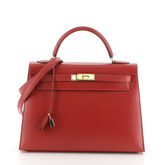 Hermes Kelly Handbag Red Box Calf with Gold Hardware 32