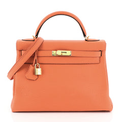 Hermes Kelly Handbag Orange Clemence with Gold Hardware 32 Orange 4597170