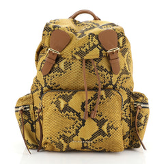 Burberry Rucksack Backpack Snake Print Nylon with Leather Large