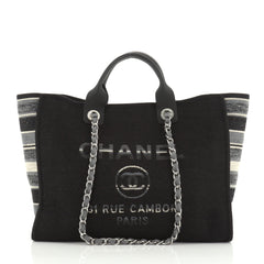 Chanel Deauville Tote Canvas with Striped Detail Medium
