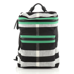 Burberry Zip Top Backpack Check Canvas Large