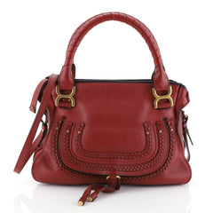 Chloe Marcie Braided Satchel Leather Medium