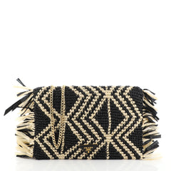 Prada Chain Flap Shoulder Bag Woven Raffia Small Black 459855