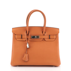 Hermes Birkin Handbag Orange Togo with Palladium Hardware 30