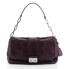 Christian Dior New Lock Ruffle Flap Bag Cannage Quilt Lambskin Purple 4601928