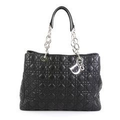 Christian Dior Soft Chain Tote Cannage Quilt Lambskin Large Black 4601929
