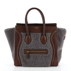Celine Bicolor Luggage Handbag Shearling Mini