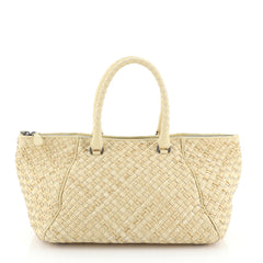 Bottega Veneta Zip Tote Intrecciato Nappa with Raffia Medium