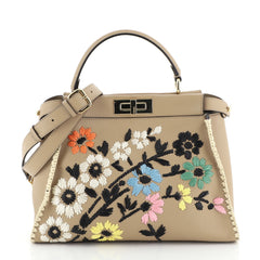 Fendi Peekaboo Bag Embroidered Leather Regular