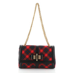 Christian Louboutin Sweet Charity Shoulder Bag Tartan Wool Small Red 460362