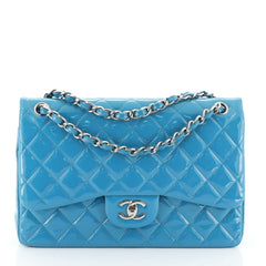 Chanel Classic Double Flap Bag Quilted Patent Jumbo Blue 460471
