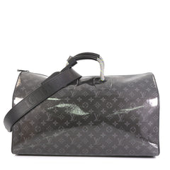 Louis Vuitton Keepall Bandouliere Bag Limited Edition Monogram Glaze Eclipse Canvas 50