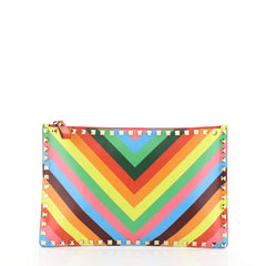 Valentino 1973 Rockstud Zip Pouch Striped Leather Large