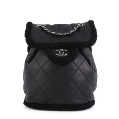 Chanel Coco Neige Flap Backpack Quilted Lambskin and Shearling Small