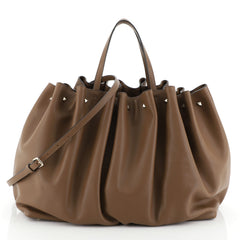 Valentino Bloomy Tote Leather Large Brown 460692