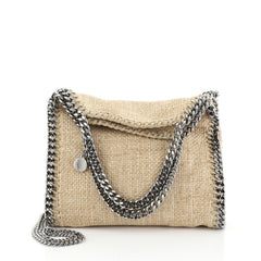 Stella McCartney Falabella Fold Over Crossbody Bag Raffia Mini Neutral 4607203