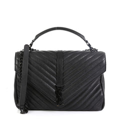 Saint Laurent Classic Monogram College Bag Matelasse Chevron Leather Large Black 460852