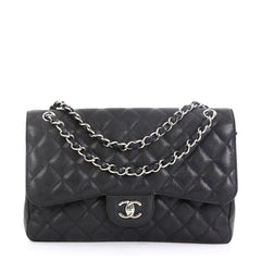 Chanel Classic Double Flap Bag Quilted Caviar Jumbo Black 460853