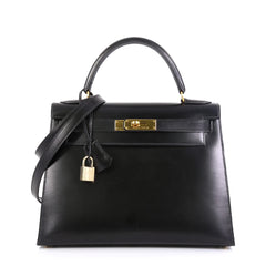 Hermes Kelly Handbag Black Box Calf with Gold Hardware 28