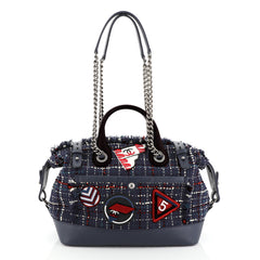 Chanel Crest Trip Bowling Bag Patch Embellished Tweed and Grained Calfskin Medium
