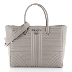 Prada Convertible Open Tote Diagramme Quilted Leather Medium