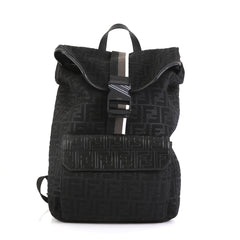 Fendi Buckle Flap Backpack Zucca Mesh with Leather Large