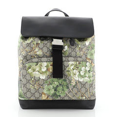 Gucci Buckle Backpack Blooms Print GG Coated Canvas and Leather Medium