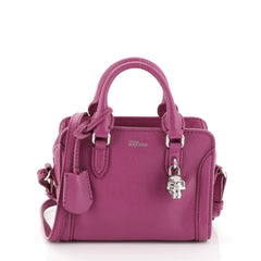 Alexander McQueen Padlock Zip Around Tote Leather Mini Purple 461122