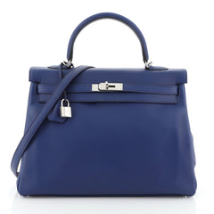 Hermes Kelly Handbag Blue Swift with Palladium Hardware 35