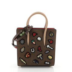 Christian Louboutin Paloma Tote Patch Embellished Nubuck Small