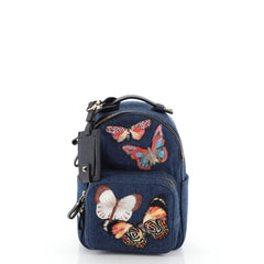 Valentino Backpack Denim with Butterfly Applique Mini