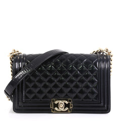 Chanel Boy Flap Bag Quilted Patent Old Medium