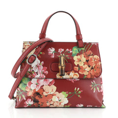Gucci Bamboo Daily Top Handle Bag Blooms Print Leather Small