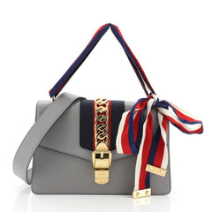 Gucci Sylvie Shoulder Bag Leather Small Gray 461891