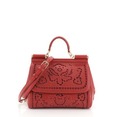 Dolce & Gabbana Miss Sicily Bag Floral Eyelet Embroidered Leather Small
