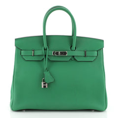 Hermes Birkin Handbag Green Togo with Palladium Hardware 35