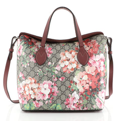 Gucci Convertible Folded Tote Blooms Print GG Coated Canvas Medium