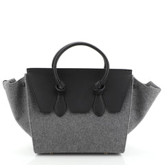 Celine Tie Knot Tote Leather and Felt Small