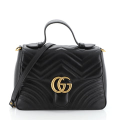 Gucci GG Marmont Top Handle Flap Bag Matelasse Leather Small