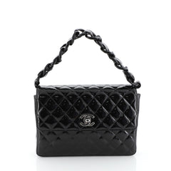 Chanel Vintage Resin Top Handle CC Flap Quilted Patent Small