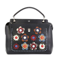 Fendi Flowerland DotCom Convertible Satchel Embellished Leather Medium