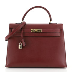 Hermes Kelly Handbag Red Courchevel with Gold Hardware 35