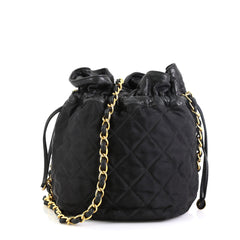 Chanel Vintage Drawstring Bucket Bag Quilted Satin Mini
