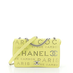 Chanel Logo Eyelets Flap Bag Perforated Calfskin