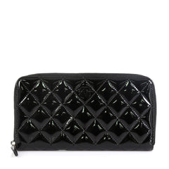Chanel Zip Around Wallet Quilted Patent Long