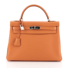 Hermes Kelly Handbag Orange Togo with Palladium Hardware 32